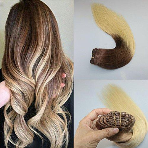 Hotqueen européenne Remy Clip en Extensions de cheveux humains Ombre Blond droites 7 pcs 100 g
