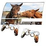 Pferde im Feld, Designfolie Sticker Skin Aufkleber Schutzfolie mit Farbenfrohem Design für PlayStation 3 Fat