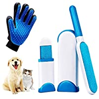 Fanwer Pet Hair Remover Set, Pet Hair Remover & Grooming Gloves Kit,Removes Dog & Cat Fur for Clothing, Furniture, Car Seats and More