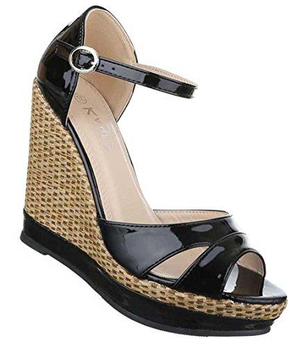 Damen Sandaletten Schuhe Keil Wedges Schwarz Schwarz