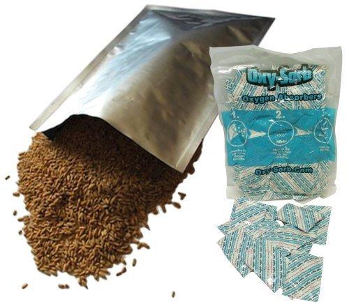 Oxy-Sorb 10 x 14 Mylarbeutel & 60-300 cc Sauerstoffabsorber für getrocknete und trockene Lebensmittel Lagerung - Überlebensmittel, silberfarben, 60 - 45 Liter von Oxy-Sorb
