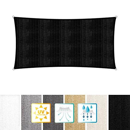 Lumaland toldo vela de sombra 100% polietileno de alta densidad filtro UV incl cuerdas nylon 2 x 4