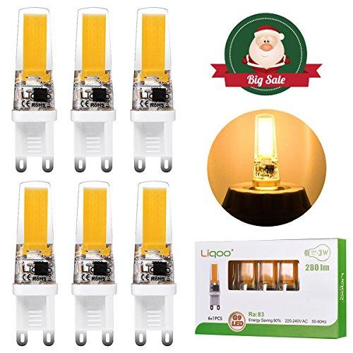 Liqoo® 6er G9 COB LED Lampe 3W Warmweiß 2800K Ra 83 hohe CRI, hohe Leuchtkraft 280 Lumen Ersetzt 30W Halogenlampe, stabile Farbtemperatur, effiziente Wärmeableitung, super Mini, langlebig 230V Abstrahlwinkel 260º