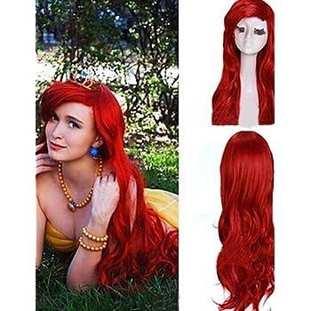 Parrucche parrucche europei moda capelli rossi ricci sirenetta ariel  principessa parrucca cosplay sintetica scuro delle donne 926776d2d41