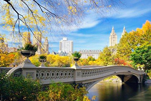 Poster Gießerei New York City Central Park Schleife Brücke über See Foto Kunstdruck von proframes 54x36 inches Poster - Central Park-brücke