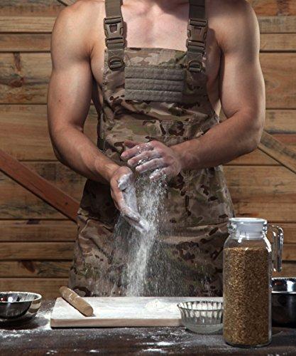 cyberdyer männlich weiblich Tactical Arbeiten Schürze Mit Werkzeugtaschen geeignet für Outdoor Picknick und täglichen Reparaturarbeiten, Baumwolle / Polyester, Desert Camouflage, Einheitsgröße (Kochen Schürze Männliche)