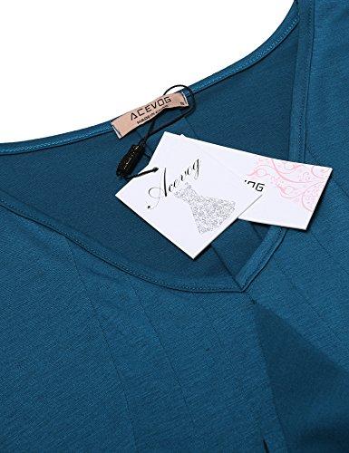 ACEVOG Damen Langarmshirt V-Ausschnitt mit Dekorativem Volant casual Oberteile Langarm Tops Shirt Bluse Sweatshirt See-Blau