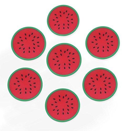 LHX-557 Silikon Multi Cartoon Fruits Formen Rutschfeste Hot Pads und Untersetzer Cup Mats hitzebeständig bis, Rutschfest, Langlebig, 7Stück Rot - Hitze-beweis-matte