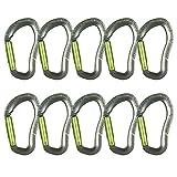 Fusion Climb Techno Zoom Gate ergonomique droite en aluminium Certifié CE UIAA Mousqueton Gris/vert pomme 10-pack