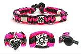 Zeckenschutzhalsband (26cm - 36cm) - EM Keramik Halsband Schutz gegen Zecken und Ungeziefer, 100 % Natur aus Paracord geknüpft mit stylischen Schmuckelementen, für Hunde und Katzen. Pink/Grau Nr.105