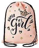 Aminata Kids - Kinder-Turnbeutel für Mädchen und Damen mit für Princess Königin König-s-Krone...