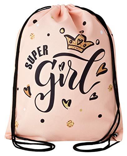 Aminata Kids - Kinder-Turnbeutel für Mädchen und Damen mit für Princess Königin König-s-Krone Tiara Prinzessin Sport-Tasche-n Gym-Bag Sport-Beutel-Tasche apricot schwarz Sprüche ()