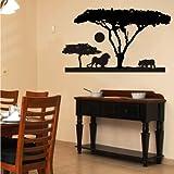 Indigos 4052166115797 Wandtattoo W552 Afrika, Steppe Wandaufkleber 80 x 44 cm, schwarz