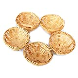 Bamboo Baskets Set, Decorative Basket Weave Round Approx. 7 x 3.5 cm Choice of Set of 5 or 10, Wood, beige, 5 er Set