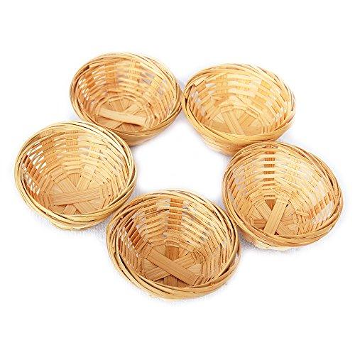 Set cestini rotondi decorativi in bambù intrecciati, circa 7 x 3,5 cm, 5 pezzi