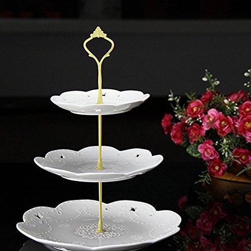 töckige Kuchenetagère Kuchen Teller Ständer Griff Armatur Hochzeit Party Tisch Dekor gold ()