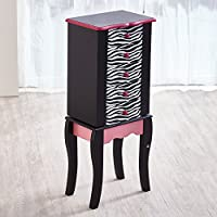 Fashion Prints Teamson Kids Jewelry Chest Armoire-Zebra (Pink/Black), Wood 30.99 x 24.51 x 74.3 cm