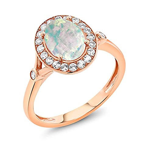 0.96 Ct Cabochon White Simulated Opal White Created Sapphire 10K Rose Gold Ring