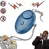 Hangang - Llavero de alarma personal de emergencia con linterna LED de 130 dB, alarma de seguridad, dispositivo electrónico de autodefensa para mujeres, niños y ancianos, azul