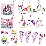 PPX 16 Pezzi Unicorno Portachiavi Unicorno Portamonete Anelli Hairpin/Clip per Capelli per Bambine Ragazze Regalo Festa Compleanno Bomboniere Bambini Giocattoli