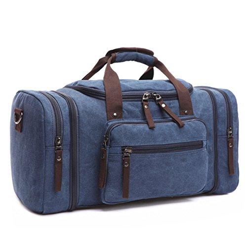 BAOSHA HB-21 Bolsa de Viaje de Lona de Piel Sintético Bolso de Viaje Fin de Semana de Cuero de la PU Bolsos de Deporte Travel Duffle Bolsa de Noche Weekender Azul