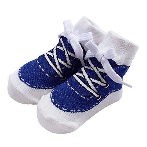 Sanlutoz Baby Socken Jungen Baumwolle Söckchen mit Muster Kindersocken im Turnschuh-Look 0-6 12Monate (0-12 Monate, SOCKA014-NV)