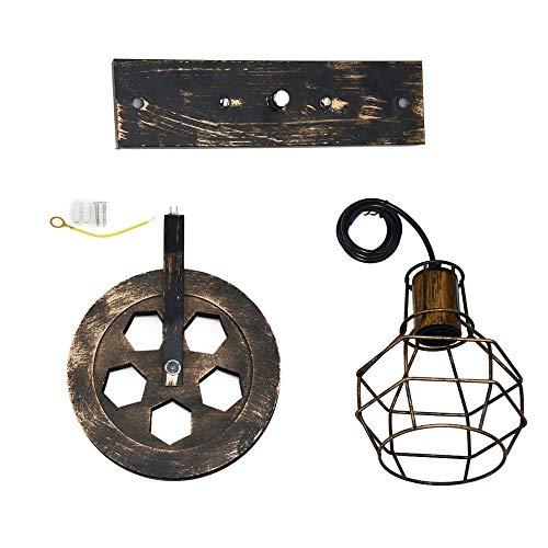 Galapara Apliques de Pared Metal Vintage Lampara Rustica Retro Lámpara Industrial de Pared...