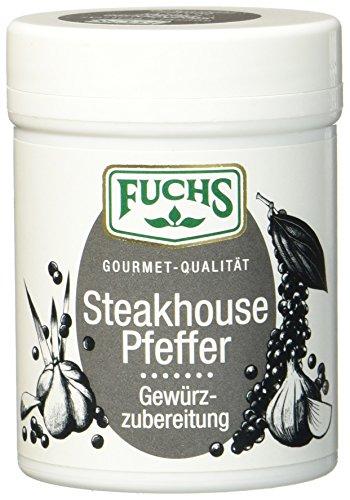 Fuchs Steakhouse Pfeffer Gewürzzubereitung Pfeffergewürz-Mischung geschroteter Steakpfeffer, zum Grillen, ideal für Gewürz Rub und Marinade, 3er Pack (3 x 60 g)