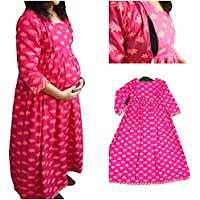 STAR DYNAMIC Maternity and Feeding Kurti, Ankle Length, Material Cambric Cotton, Pink Lehriya