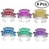 LUOEM Anniversaire Bandeau Diadèmes Glitter Party Chapeaux Cheveux Fermoirs Joyeux Anniversaire Décoration Enfants Partie Fournitures Cadeau 6 PCS