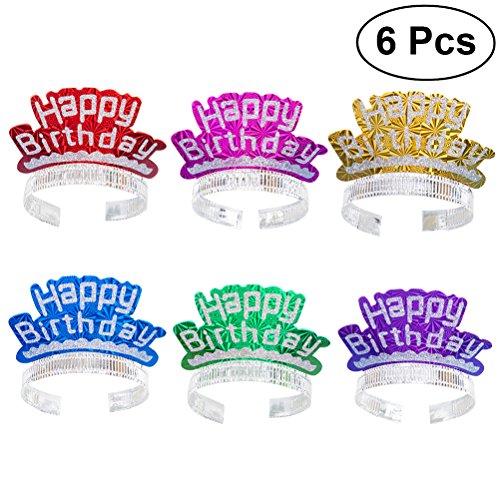 LUOEM Geburtstag Stirnband Tiaras Glitter Party Hüte Haarspangen Happy Birthday Dekoration Kinder Party Supplies Geschenk 6ST