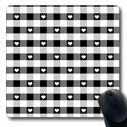 Luancrop Mauspads für Computer Vintage Grau Weiß Gingham Muster Herzen Schwarz Kariert Abstrakt Check Block Liebe Niemand rutschfeste Längliche Gaming-Mausunterlage - Block Check