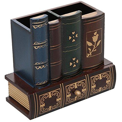 MyGift decorativo Library Books Design Organizer portaoggetti di forniture per ufficio portapenne in legno con cassetto
