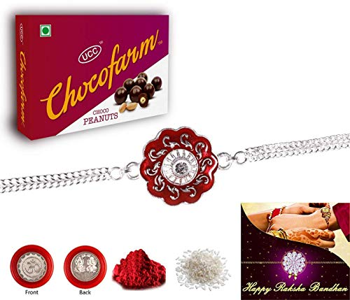 Rakhi Combo - Fancy rakhi / Fancy rakhi (Silver Color / plated Rakhi) with Choclate Combo (R1_V4_C_5+5) | rakhi gifts for brother | rakhis for rakshabandhan | rakhi for brother and bhabhi | Rakhi Pooja items | Roli Chawal and Pooja Coin | rakhi for brother | rakhis for rakshabandhan | rakhi for brother with chocolates | Raksha Bandhan Greeting Card | Rakhi Combo | rakhi thread for brother |
