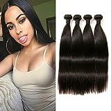 Brasilianische Haarverlängerung Virgin Hair Bundles Straight Extensions Echthaar 4 Bundles Langes Echt Haare Verlängerung Extensions Echthaar Dickes Haar 10 12 14 16 Inches