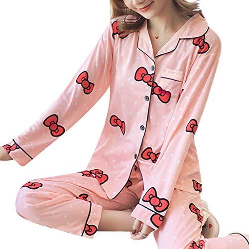 chenpaif Womens Pyjamas Set Kawaii Cartoon gedruckt Langarm Nachtwäsche Button Down Notch Kragen lose Hosen Loungewear 18 XL