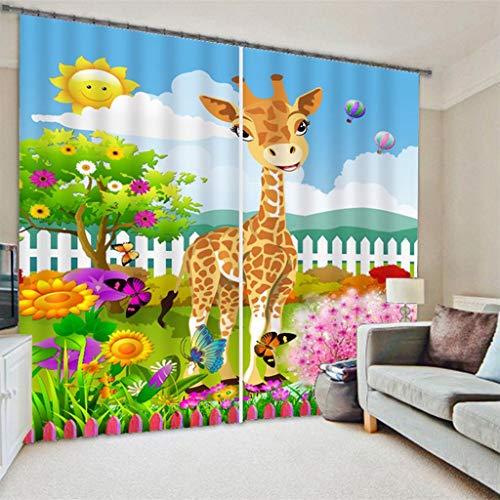 Lgxingliyidian tessuto di seta nera tenda oscurante camera dei bambini fumetto giraffa farfalla floreale sole 3d stampa isolamento termico tende occhiello 250 (h) x150cm (w) x2