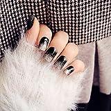 wzw 24super brillante Negro y Plata Purpurina uñas gama alta salto de párrafo falsos clavos en el parche de largo uñas pegamento