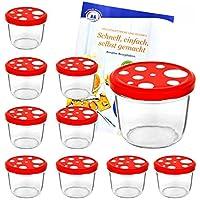 MamboCat 10er Set Sturzgläser 230 ml mit Fliegenpilz rot weiß gepunkteter Deckel To 82 inkl. Diamant Gelierzauber Rezeptheft Marmeladengläser Einmachgläser Einweckgläser