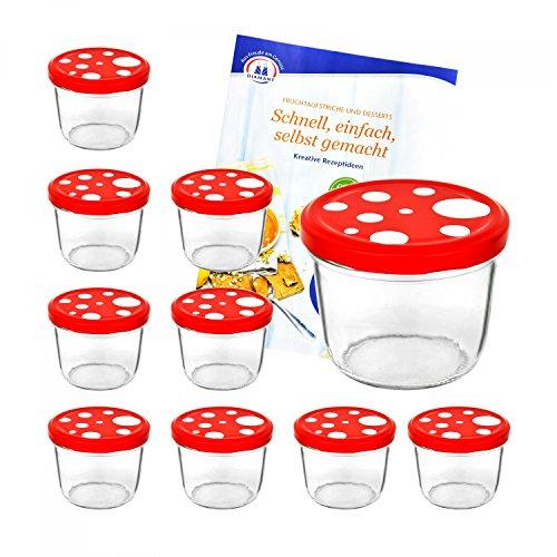 10er Set Sturzgläser 230 ml mit Fliegenpilz rot weiß gepunkteter Deckel To 82 inkl. Diamant Gelierzauber Rezeptheft Marmeladengläser Einmachgläser Einweckgläser
