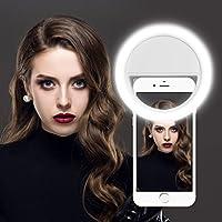 Gvoo Selfie Ring Licht, 36 LED Strahler Flash Kamera Foto Video Licht Light Lampe mit 3 Lichtstufen für Alle Handys - Weiß