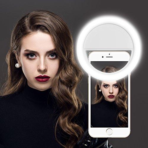 Selfie Ring Licht, Gvoo 36 LED Strahler Flash Kamera Foto Video Licht Light Lampe mit 3 Lichtstufen für alle Handys - Weiß (weiß-Batterie)