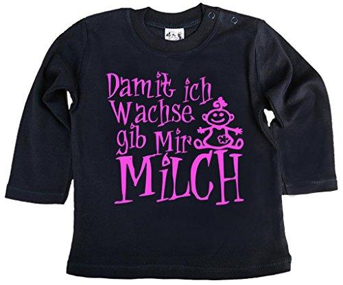 Dirty Fingers, Damit Ich Wachse gib Mir Milch Mädchen, T-Shirt langärmlig, 2-3 jahre, Schwarz (Mädchen Trinken T-shirt)