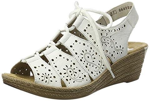 Rieker Damen 62465 Offene Sandalen mit Keilabsatz, Weiß (Weiss/Bianco / 80), 37 EU