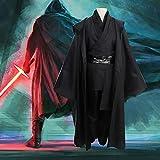 BLOIBFS Star Wars Jedi Knight Costume, Halloween Superhero Nylon Felpe con Cappuccio Robe Anakin Sith Suit Cloak Tops Pants,Black-XXL