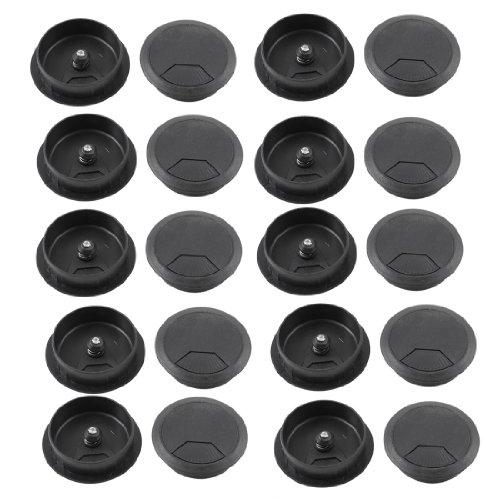 Sodial(r) pc desk plastica nera diametro 50 millimetri superiore di vibrazione passacavo hole coprire il 20 pz