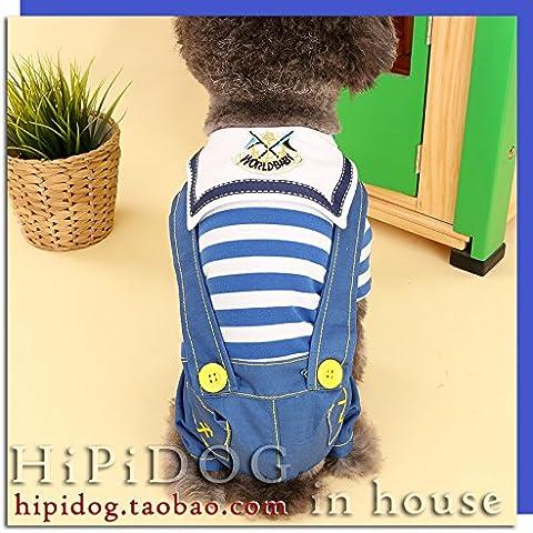 YU-K Cani abbigliamento abbigliamento piccolo cane mezzo abbigliamento abbigliamento cane cane grande abbigliamento marinai a strisce blu , serie L (torace46cm)