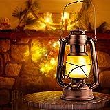 Eterbiz Flamme Lampe Licht Antik Kupfer Laterne Flackernde LED Hängende Metall Laterne - Weihnachtslaternen, Vintage Laterne Lampe