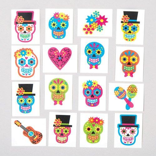 Baker Ross Temporäre Tag der Toten-Tattoos für Kinder. Perfekt als Kleine Halloween-Überraschung Oder als Preis Bei Partyspielen für Jungen und Mädchen (24 Stück)