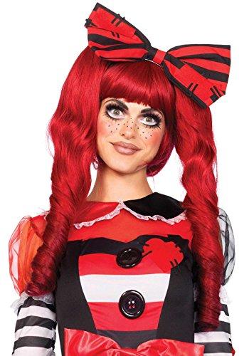 Leg Avenue A2732 - Dolly bob Perücke mit optional ringlet Clips - Einheitsgröße, rot - Märchen Kostüm Perücke